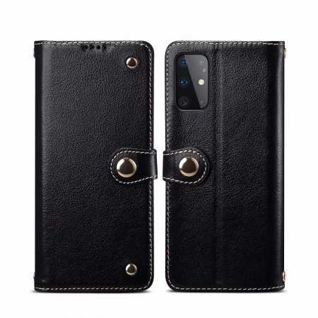 For Samsung Galaxy S20 100% Genuine Leather Wallet Card Case Cover - Black