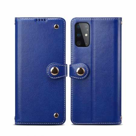 For Samsung Galaxy S20 100% Genuine Leather Wallet Card Case Cover - Blue