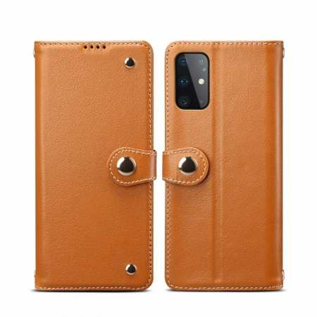 For Samsung Galaxy S20 100% Genuine Leather Wallet Card Case Cover - Brown