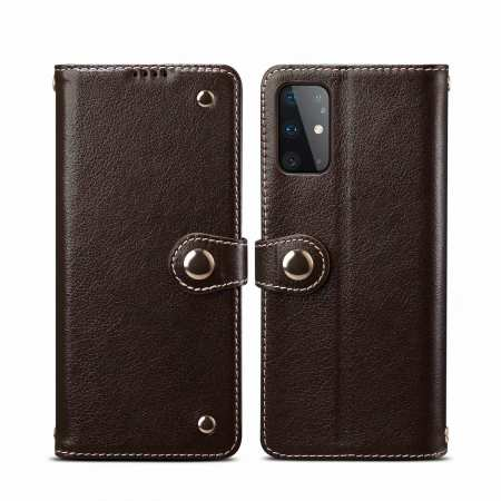 For Samsung Galaxy S20 100% Genuine Leather Wallet Card Case Cover - Wine Red