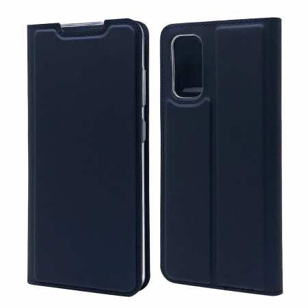 For Samsung Galaxy S20 - Leather Magnetic Case Wallet Flip Cover - Navy Blue