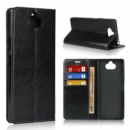 For Sony Xperia 8 - Genuine Leather Case Wallet Stand Flip Cover - Black