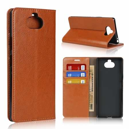 For Sony Xperia 8 - Genuine Leather Case Wallet Stand Flip Cover - Brown