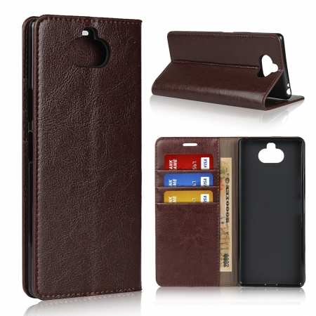 For Sony Xperia 8 - Genuine Leather Case Wallet Stand Flip Cover - Coffee