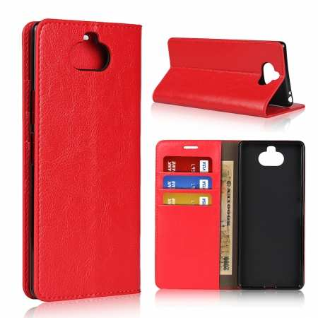 For Sony Xperia 8 - Genuine Leather Case Wallet Stand Flip Cover - Red