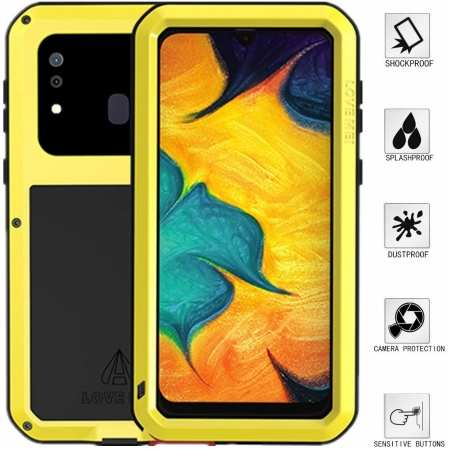 LOVEMEI Powerful Metal Waterproof Case Cover for Samsung Galaxy A20 - Yellow