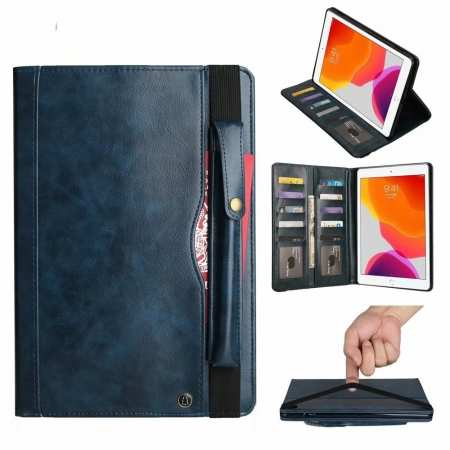 For Apple iPad 7th Gen 10.2 2019/Pro 11 2020 Leather Stand Case Card Slot Cover - Navy Blue