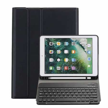 For iPad 10.2 2019 Bluetooth Keyboard Leather Case Cover With Pencil Holder - Black