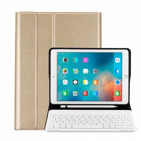 For iPad 10.2 2019 Bluetooth Keyboard Leather Case Cover With Pencil Holder - Gold