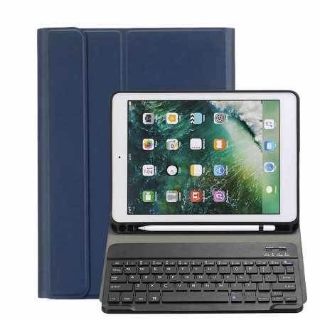 For iPad 10.2 2019 Bluetooth Keyboard Leather Case Cover With Pencil Holder - Navy Blue