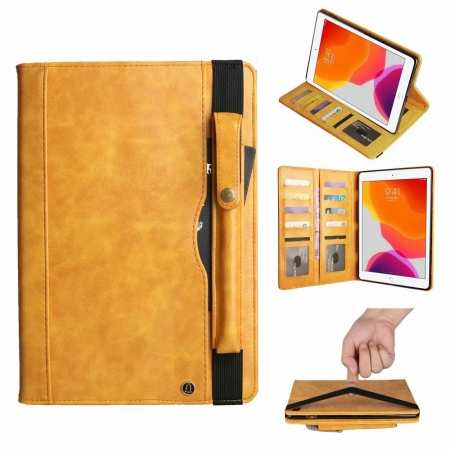 For iPad 7th 10.2 2019/Pro 11 2020 Leather Wallet Case Pencil Holder Stand Cover - Yellow