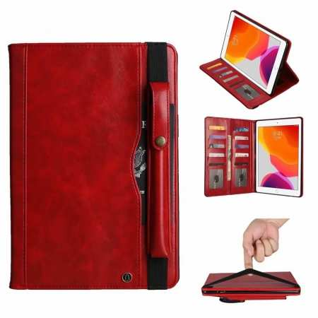For iPad 7th Gen 10.2/Pro 11 2020 Leather Case Wallet Stand W/Strap Holder Pencil Slot Cover - Red