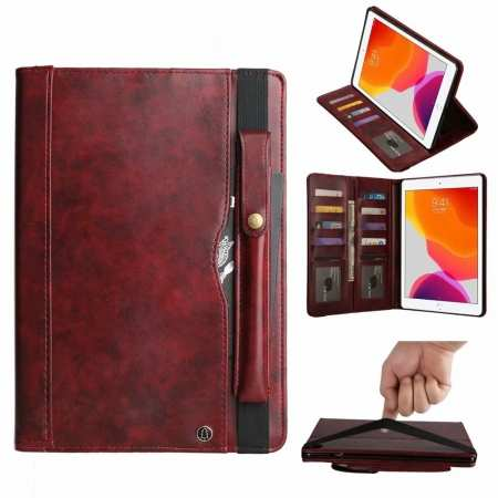 For iPad 7th Gen 10.2/Pro 11 2020 Leather Wallet Case Stand Strap Holder Pencil Slot Cover - Wine Red