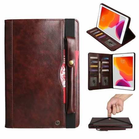 For iPad Pro 11 12.9 2020/7th Gen 10.2 2019 Leather Case Pencil Slot Wallet Stand Cover - Dark Brown