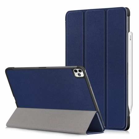 For iPad Pro 11 2020/iPad 7th Gen 10.2 2019 Leather Folio Tablet Case Cover - Navy Blue
