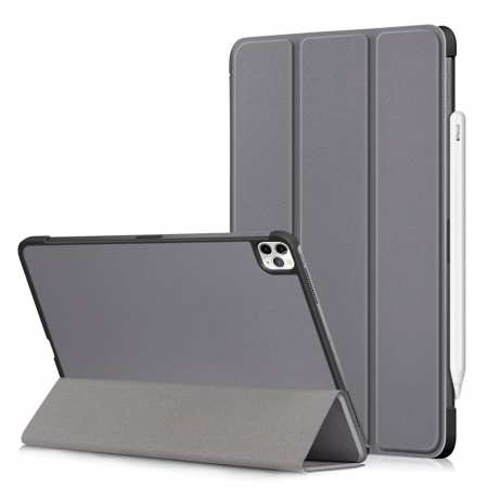 For iPad Pro 11 2020/iPad 7th Gen 10.2 2019 Tri-fold Leather Protective Case Cover - Grey