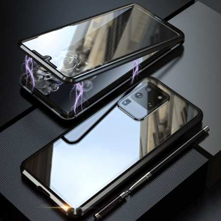 For Samsung Galaxy S20 Metal Magnetic Front Back Tempered Glass Case - Black