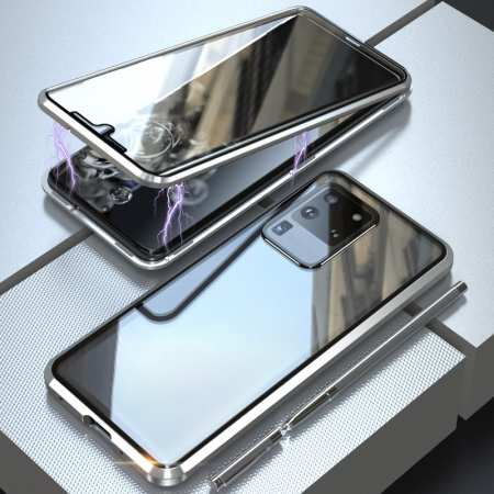 For Samsung Galaxy S20 Metal Magnetic Front Back Tempered Glass Case - Silver