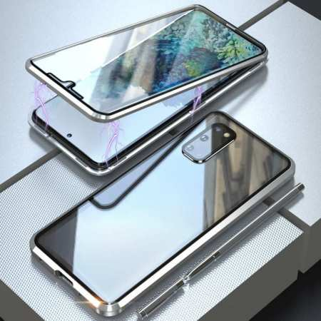 For Samsung Galaxy S20 Ultra 5G Metal Magnetic Front Back Tempered Glass Case - Silver