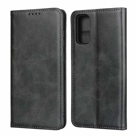 For Samsung Galaxy S20 Ultra Magnetic Leather Card Slot Flip Wallet Case - Black