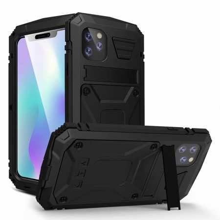 For iPhone 11 12 Pro Max Shockproof Aluminum Metal Gorilla Glass Kickstand Case