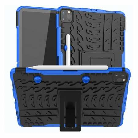 For Apple iPad Pro 11 2020 Hybrid Rugged Hard Rubber PC Stand Case Cover - Blue