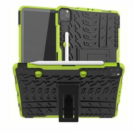 For Apple iPad Pro 11 2020 Hybrid Rugged Hard Rubber PC Stand Case Cover - Green