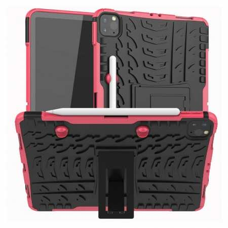 For Apple iPad Pro 11 2020 Hybrid Rugged Hard Rubber PC Stand Case Cover - Hot Pink