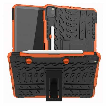 For Apple iPad Pro 11 2020 Hybrid Rugged Hard Rubber PC Stand Case Cover - Orange