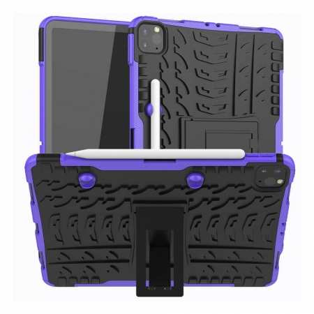 For Apple iPad Pro 11 2020 Hybrid Rugged Hard Rubber PC Stand Case Cover - Purple