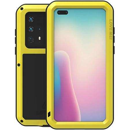 For Huawei P40 Case Aluminum Metal+Silicone+Tempered Glass Yellow