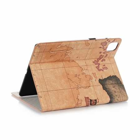 "For iPad Pro 11"" 2020 World Map Stand Flip Leather Case - Brown"