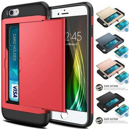 "For iPhone SE 2020 4.7"" Phone Case Shockproof Rugged Dual Layer Card Slot Wallet Cover"