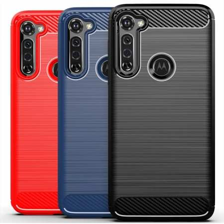For Motorola Moto G Stylus / G Power Phone Case Slim Carbon Fiber TPU Protective Cover