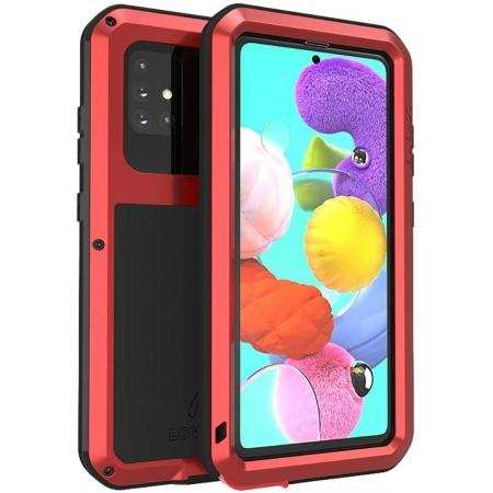For Samsung Galaxy A51 Waterproof Shockproof Aluminum Metal Case Red