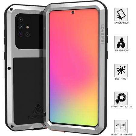 For Samsung Galaxy A71 Aluminium Metal Case Shockproof Heavy Duty Cover - Silver