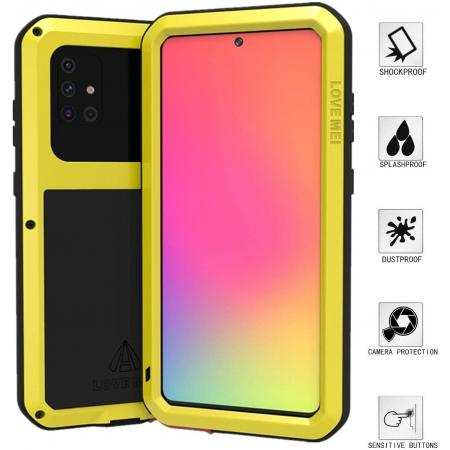 For Samsung Galaxy A71 Aluminium Metal Case Tempered Glass Cover - Yellow