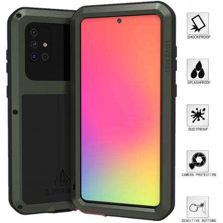 For Samsung Galaxy A71 Metal Shockproof Aluminum Heavy Duty Case Cover - Dark Green