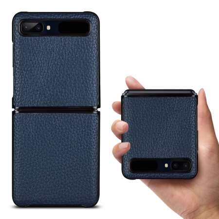 For Samsung Galaxy Z Flip Phone Case Genuine Leather Flip Shockproof Cover - Navy Blue