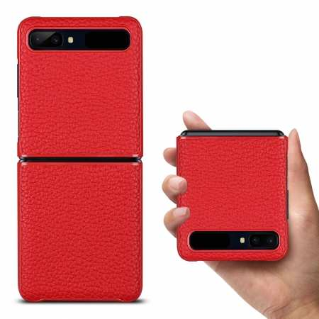 For Samsung Galaxy Z Flip Phone Case Genuine Leather Flip Shockproof Cover - Red