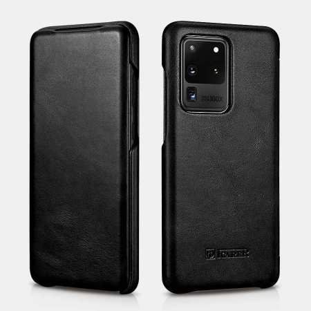 ICARER Vintage Series Genuine Leather Flip Case For Samsung Galaxy S20 Ultra 5G - Black