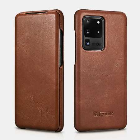 ICARER Vintage Series Genuine Leather Flip Case For Samsung Galaxy S20 Ultra 5G - Brown