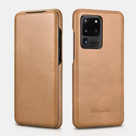 ICARER Vintage Series Genuine Leather Flip Case For Samsung Galaxy S20 Ultra 5G - Khaki