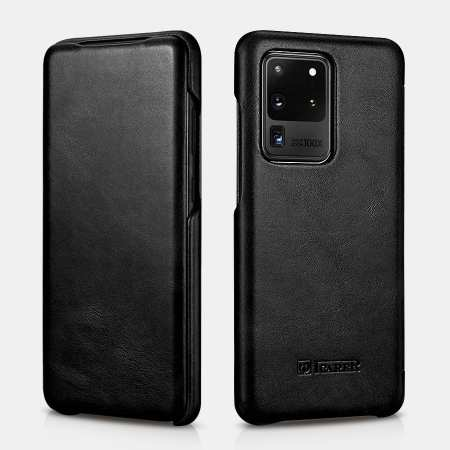 ICARER Vintage Series Genuine Leather Flip Case For Samsung Galaxy S20 Ultra - Black