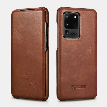 ICARER Vintage Series Genuine Leather Flip Case For Samsung Galaxy S20 Ultra - Brown