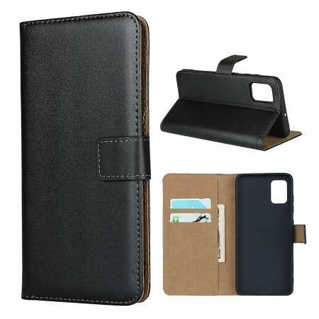 For Samsung Galaxy A51 A71 5G Note 8 Genuine Leather Magnetic Flip Wallet Case Stand Cover Black