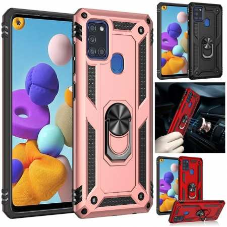 For Samsung Galaxy A21S A21 A71 5G Shockproof Armor Ring Holder Stand Case Cover