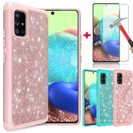 For Samsung Galaxy A11 A21 A71 5G UW Phone Case Glitter Bling Cover With Screen Protector