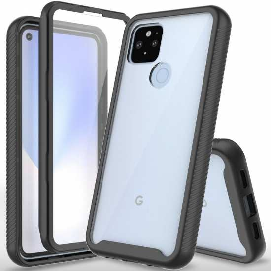 For Google Pixel 5 / 4a 5G Full-Body Shockproof Clear Case With Screen Protector
