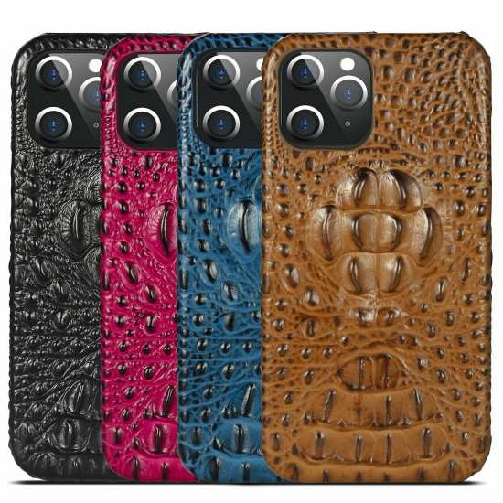 For iPhone 11 12 Pro Max X XS XR Deluxe Genuine Cow Leather Crocodile Case Cover
